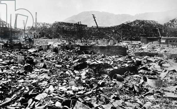 WORLD WAR II: NAGASAKI Ruins of the steel works of the Nagasaki shipbuilding yard after the atomic bomb was dropped on the city, August 1945.