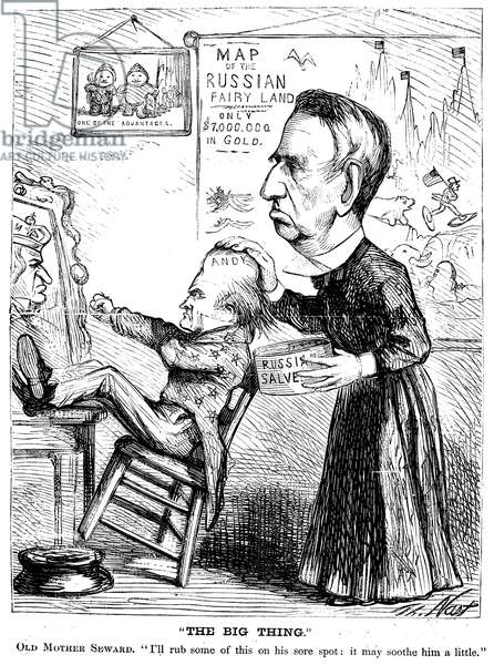 ALASKA PURCHASE CARTOON 'The big thing.' An American newspaper cartoon of 1867 on the Alaska Purchase.