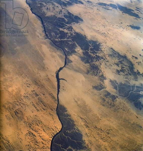 EARTH FROM SPACE, 1965 A view of Egypt, including the Nile River, Eastern Desert, and Aswan Dam. Photographed by the astronauts aboard the Gemini III spacecraft, 1965.