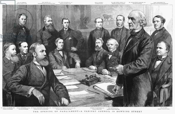 PARLIAMENT, 1884 A parliament cabinet council. Standing, left to right: John Wodehouse, John Poyntz Spencer, Joseph Chamberlain, Roundell Palmer, John George Dodson, William Ewart Gladstone, Baron Carlingford. Seated: Hugh Childers, Thomas Baring, Charles Wentworth Dilke, William Harcourt, Spencer Cavendish, Granville Leveson-Gower and Edward Stanley.