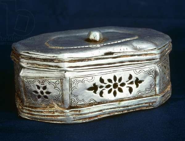 INDIA: DECORATIVE BOX Decorative silver box from India.