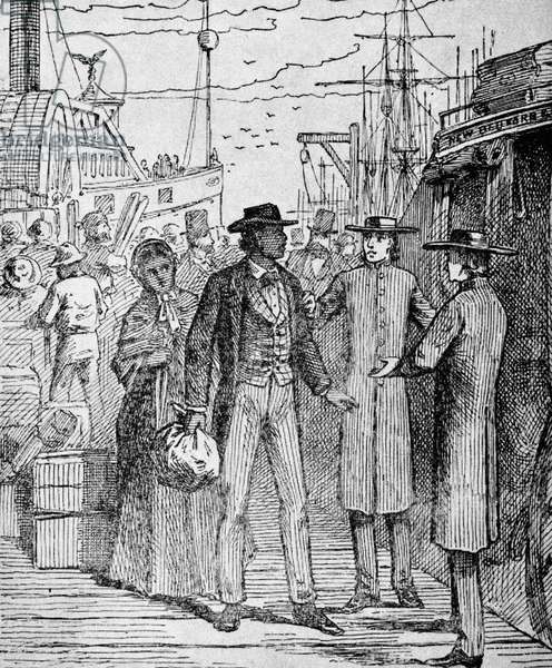 FREDERICK DOUGLASS ( c.1817-1895). American abolitionist. Douglass and his wife, Anna, arriving in Newport, shortly after their marriage in 1838. Wood engraving from a late 19th century edition of his autobiography, 'Narrative of the Life of Frederick Douglass.'