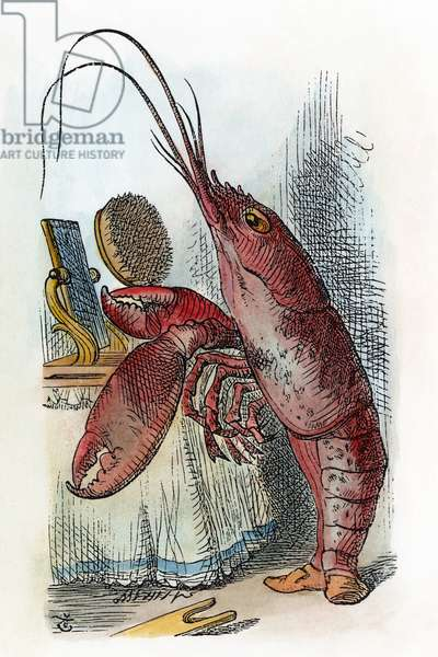 CARROLL: ALICE, 1865 The Lobster declares, 'You have baked me too brown, I must sugar my hair.' After the design by Sir John Tenniel for the first edition of Lewis Carroll's 'Alice's Adventures in Wonderland,' 1865.