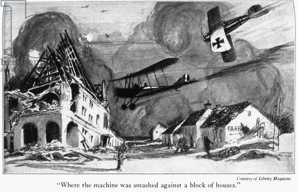 WORLD WAR I: AERIAL COMBAT An Allied fighter plane about to crash into a block of war-damaged houses in France while pursued by a German fighter during World War I. Illustration by Clayton Knight from 'The Red Knight of Germany,' a biography of German World War I flying ace Manfred von Richthofen, by American journalist Floyd Phillips Gibbons, 1927.