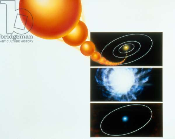 PLANET FORMATION: COLLISION Illustration showing the idea of planet formation that results from giant impacts of celestial bodies, by Dana Berry for NASA, c.1990.
