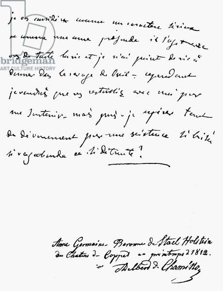 MADAME de STAEL LETTER Holograph letter written in the Spring of 1812 by Madame de Stael (1766-1817) to the German writer and naturalist, Adelbert von Chamisso.