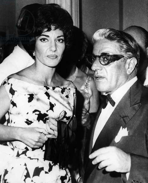 CALLAS & ONASSIS, 1960 Greek opera singer Maria Callas and Greek shipping magnate Aristotle Onassis at a charity ball at the International Sporting Club in Monte Carlo, Monaco, 1960.