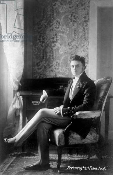 KARL I OF AUSTRIA (1887-1922) The last Emperor of Austria, and the last monarch of the Habsburg Dynasty. He reigned as Emperor Karl I of Austria, King Charles III of Bohemia and King Charles IV of Hungary from 1916 until 1918. Photographed while Archduke.