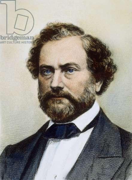 SAMUEL COLT (1814-1862) American inventor. Steel engraving, American, 19th century.