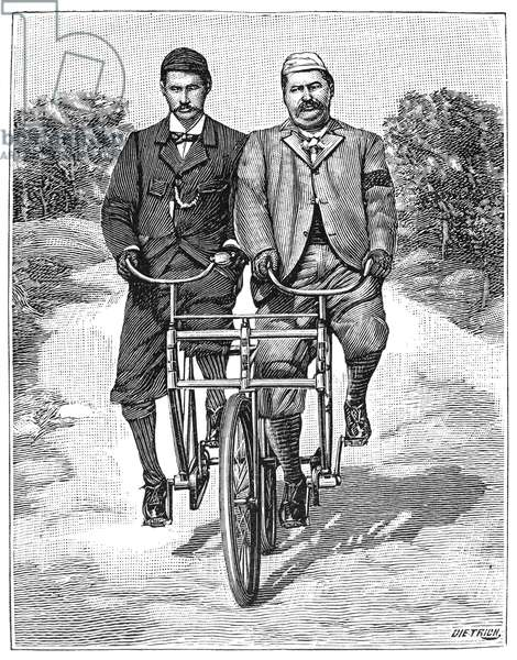 TANDEM BICYCLE, 1896 The sociable bicycle. Wood engraving, French, 1896.