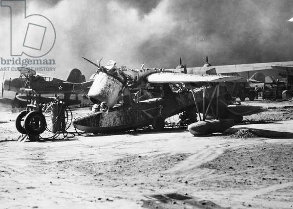 WORLD WAR II: PEARL HARBOR Wreckage of a Vought-Sikorsky plane at Pearl Harbor, 7 December 1941.