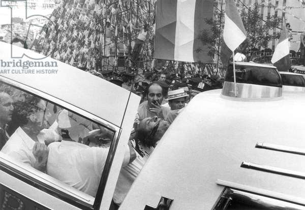 JOSEPH COLOMBO (1914-1978) Crime family boss. Bleeding profusely from head wounds, Joseph Colombo is placed inside an ambulance after being shot at the Unity Day parade on June 28, 1971.