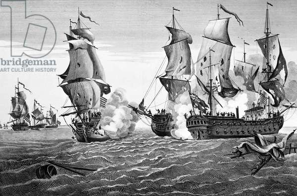 BONHOMME RICHARD, 1779 The engagement between USS Bonhomme Richard, commanded by John Paul Jones, and HMS Serapis off Flamborough Head, Yorkshire, England, 23 September 1779. Contemporary French line engraving.