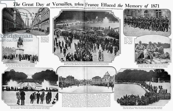 TREATY OF VERSAILLES, 1919 Two-page photographic spread from an American magazine of scenes in Versailles, France, on the occasion of the signing of the Treaty of Versailles that concluded World War I, 28 June 1919.