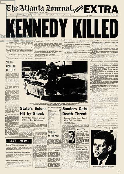 KENNEDY ASSASSINATION, 1963 The banner headline of the 'The Atlanta Journal' of 23 November 1963 announcing the assassination of President Kennedy.