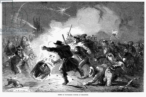 GUY FAWKES' DAY, 1853 Fireworks celebration at Brighton on Guy Fawkes' Day, 5 November 1853. Wood engraving from an English newspaper.