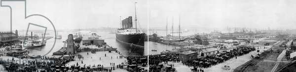 NEW YORK: LUSITANIA, 1907 The Cunard steamship 'Lusitania' at New York Harbor at the end of its record trans-Atlantic voyage. Panorama photograph, 1907.