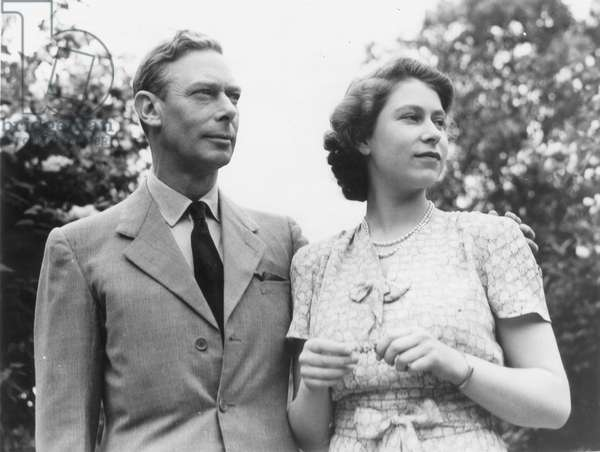 GEORGE VI (1895-1952) King of Great Britain, 1936-1952. Photographed with his daughter, the future Queen Elizabeth II, c.1946.