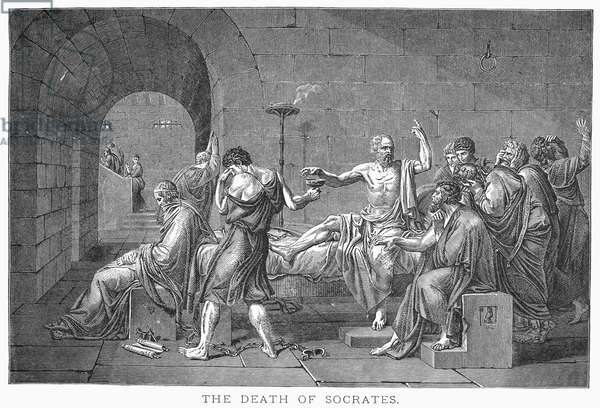 SOCRATES (470?-399 B.C.) Greek philosopher. The death of Socrates. Wood engraving, 19th century, after the painting by Jacques Louis David.