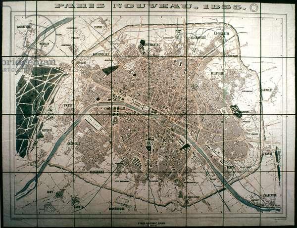 PARIS: MAP, 1855 Plan of Paris, France, at the beginning of Haussmann rebuilding.
