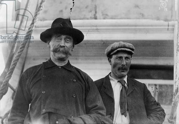 ROBERT PEARY (1856-1920) Peary (at left) with Robert Abram ('Captain Bob') Bartlett aboard ship at Battle Harbor, Canada, during their 1897-1898 expedition.
