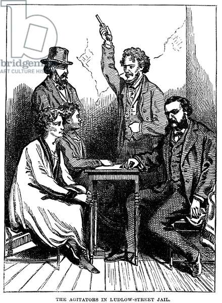 VICTORIA CLAFLIN WOODHULL (1838-1927). American reformer. George Francis Train (with pistol) visiting Victoria Claflin Woodhull and her sister, Tennessee Claflin, in a New York City prison during the 1870s. Line engraving, American, 19th century.