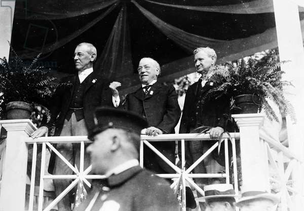WILSON, GOMPERS & WILSON President Woodrow Wilson, Samuel Gompers and Secretary of Labor William B. Wilson at the dedication of the American Federation of Labor headquarters building at Washington, D.C., 4 July 1916.