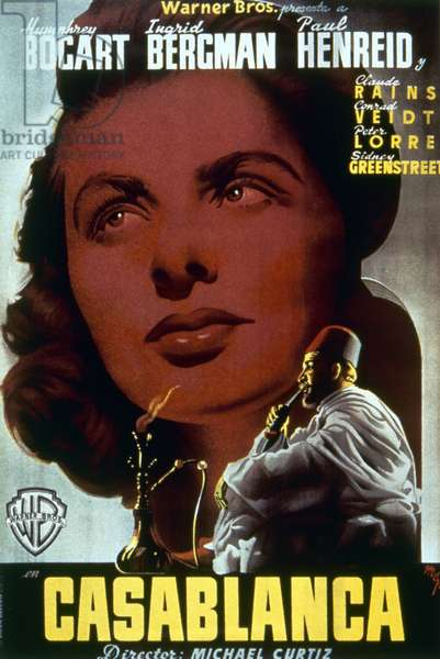 CASABLANCA, 1942 Actress Ingrid Bergman featured on a Spanish poster, c.1946, for the American film 'Casablanca,' originally released in 1942.