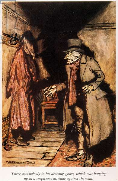 "DICKENS: A CHRISTMAS CAROL Troubled by a vision of Marley's face, Scrooge inspects his house: illustration by Arthur Rackham for Charles Dickens' ""A Christmas Carol."""