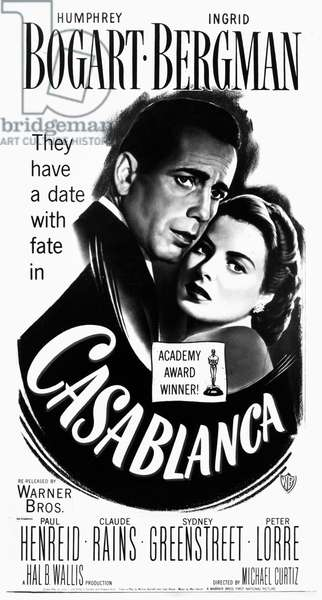 FILM: CASABLANCA, 1942 American poster for the film 'Casablanca', 1942, featuring Humphrey Bogart and Ingrid Bergman, directed by Michael Curtiz.