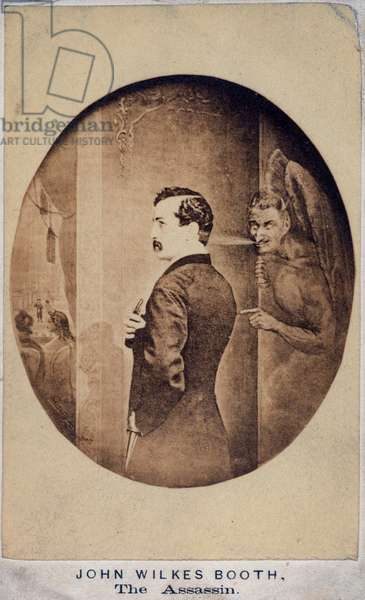 JOHN WILKES BOOTH (1838-1865). American actor and assassin of President Abraham Lincoln. Booth at Ford's Theatre, under the influence of Satan. Gravure, c.1865.