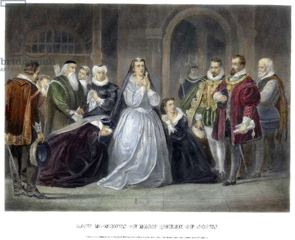 MARY, QUEEN OF SCOTS (1542-1587). The last moments of Mary, Queen of Scots from the drama 'Maria Stuart,' written in 1800 by Johann Christoph Friedrich von Schiller (1759-1805), German poet and playwright. coloured  engraving, American, 1869.