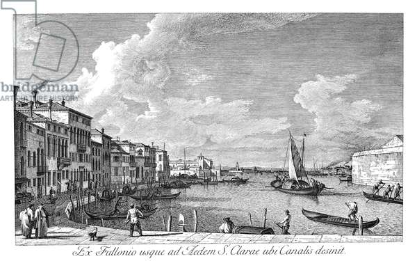 VENICE: CHIARA CANAL, 1735 The Canale di Santa Chiara in Venice, Italy looking northwest from the Fondamenta della Croce to the Lagoon. Engraving, 1735, by Antonio Visentini after Canaletto.