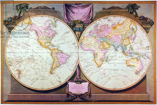 CAPTAIN COOK: MAP, 1808 English double hemisphere map, 1808, by Laurie and Whittle recording all the voyages of Captain James Cook.