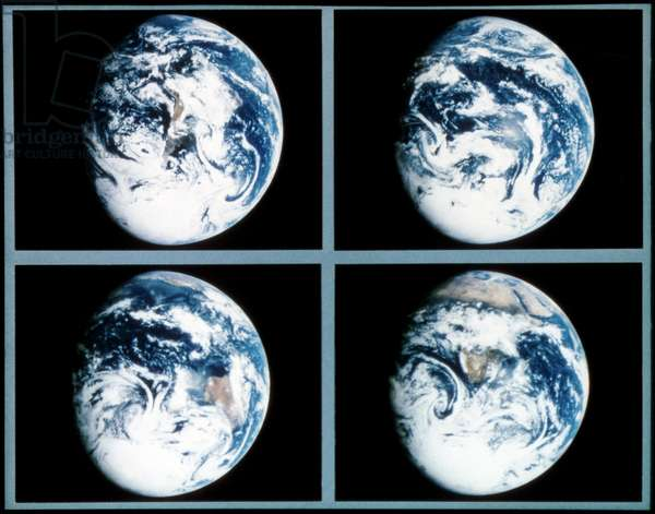 EARTH FROM SPACE, 1990 Four views of Earth from space. Photographed by the Galileo orbiter, 1990.