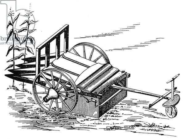 CORN HARVESTER, 1850 Mechanical corn harvester (also ear husker and sheller), 1850. Contemporary American line engraving.