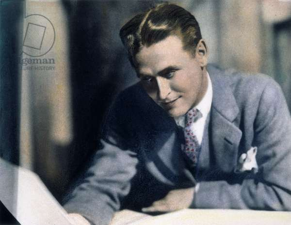 F. SCOTT FITZGERALD (1896-1940). Francis Scott Key Fitzgerald. American writer. Oil over a photograph, c.1925, by Nickolas Muray.
