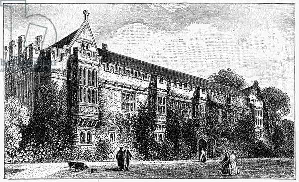 OXFORD: ST. JOHN'S COLLEGE View of St. John's College on the campus of Oxford University, Oxford, England. Wood engraving, English, c.1885.