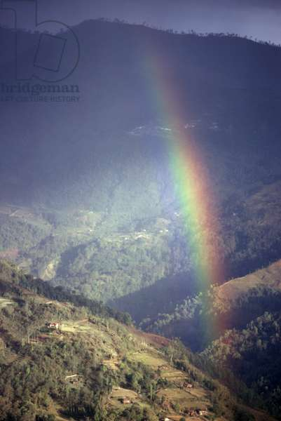 INDIA: RAINBOW, 1971 A rainbow in the mountains of Lachung, Sikkim, India. Photograph by Alice S. Kandell, 1971.