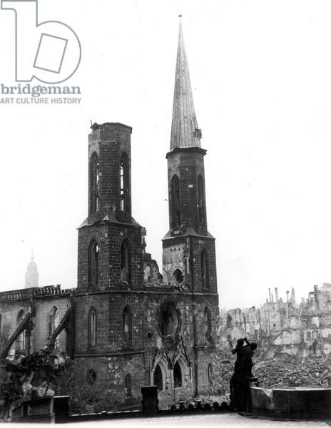 WORLD WAR II: DRESDEN Sophia Church at Dresden, Germany, with only one of its two spires remaining after the Allied bombing raids of World War II, 1946.