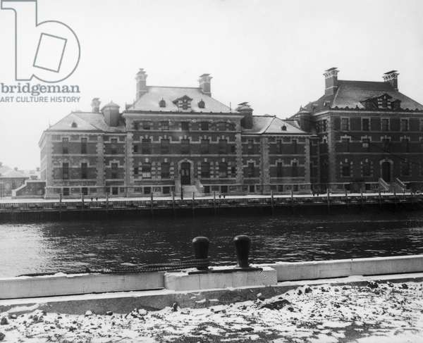 ELLIS ISLAND, c.1912 Buildings at the immigration station in New York Harbor, c.1912.