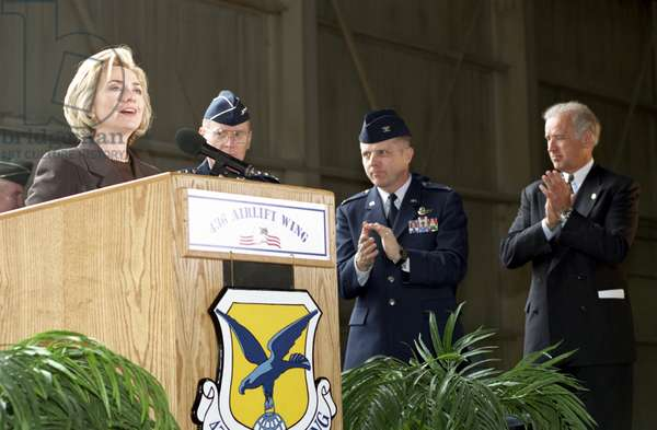 HILLARY RODHAM CLINTON (1947- ). American politician. Photographed speaking at the Dover Air Force Base in Delaware, 1999.