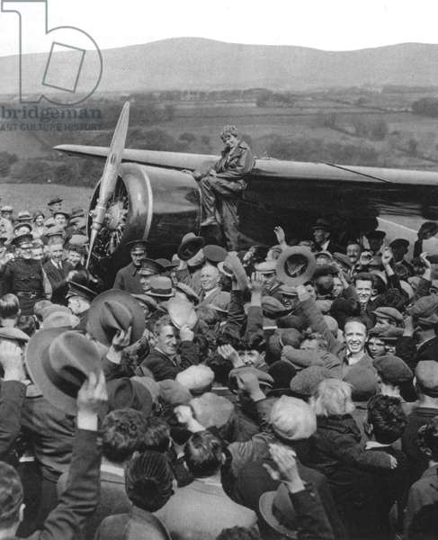 AMELIA EARHART (1898-1937). American aviatrix. On landing at Culmore, Northern Ireland, May 21, 1932, becoming the first woman to fly alone across the Atlantic.