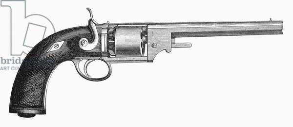 GERMAN REVOLVER, 1856 Wood engraving, German, 1856.