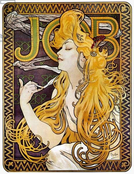 MUCHA: CIGARETTE PAPERS French lithograph advertising poster, c.1897, by Alphonse Mucha for Job cigarette papers.