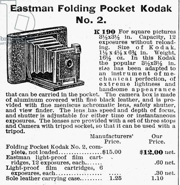 CAMERA ADVERTISEMENT, 1900 An Eastman Folding Pocket Kodak. Catalogue advertisement, 1900.