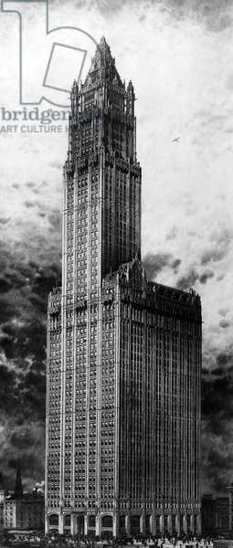 WOOLWORTH BUILDING, 1913 The Woolworth Building, New York City, the world's tallest building at the time of its completion in 1913 until 1930. Photograph, 1913.