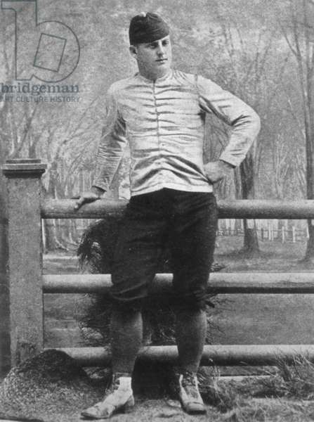 FREDERIC REMINGTON (1861-1909). American artist. Photographed in football uniform when at Yale.