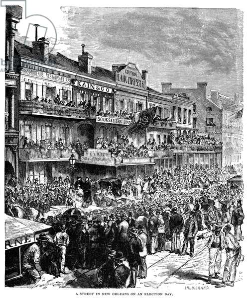 NEW ORLEANS STREETSCENE A street in New Orleans on an election day, 1862. Wood engraving, American.