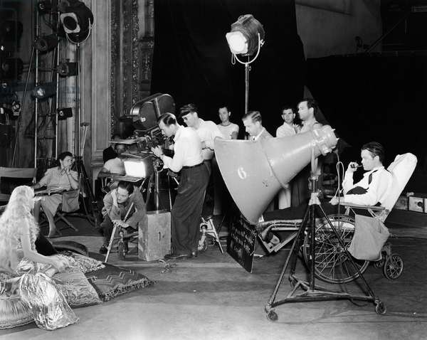 FILM: CITIZEN KANE, 1941 Orson Welles, right, the director and lead, on the set in a theater during the filming of 'Citizen Kane,' 1941.